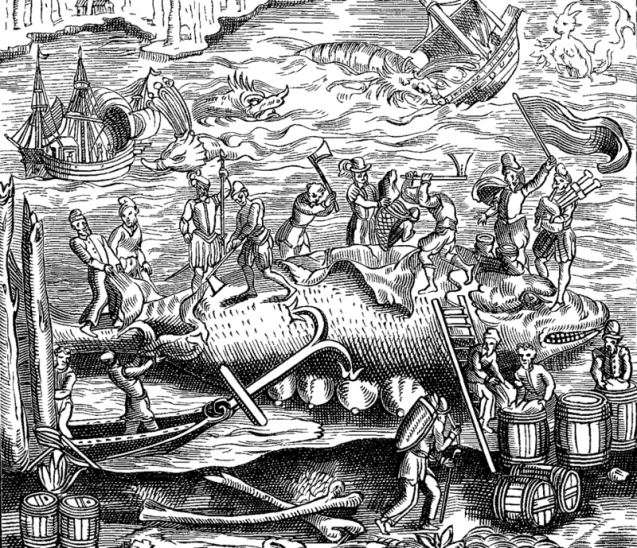 A woodcut illustration of whalers in the 1500s, surrounded by all sorts of strange creatures.